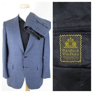 Oxxford Clothes Blue Gray Worsted Wool Suit 40R